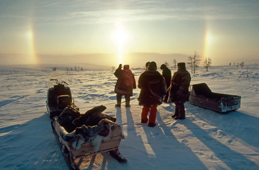 Nutendli reindeer herders and Snowchange staff greet the morning sun, 2006. Photo: Snowchange, 2014