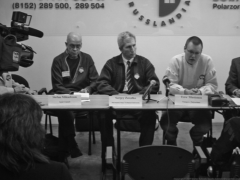 Snowchange has led community-based traditional knowledge work in many areas since 2000. Here a photo from the all-nation Press Conference, Murmansk, Russia, 2003. Photo: Snowchange, 2014