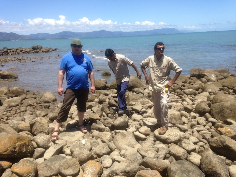 With the rangers on a 30,000 year old fish trap on the Coral Sea. Victor Steffensen, 2014