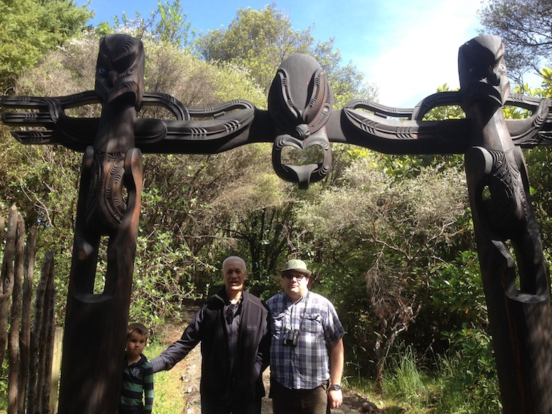 Tero, Apanui and Oliver at the Rua-Peka-Peka fortress site. Darren King, 2014.