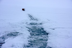 New conditions on the lake Puruvesi ice, 2012, Snowchange