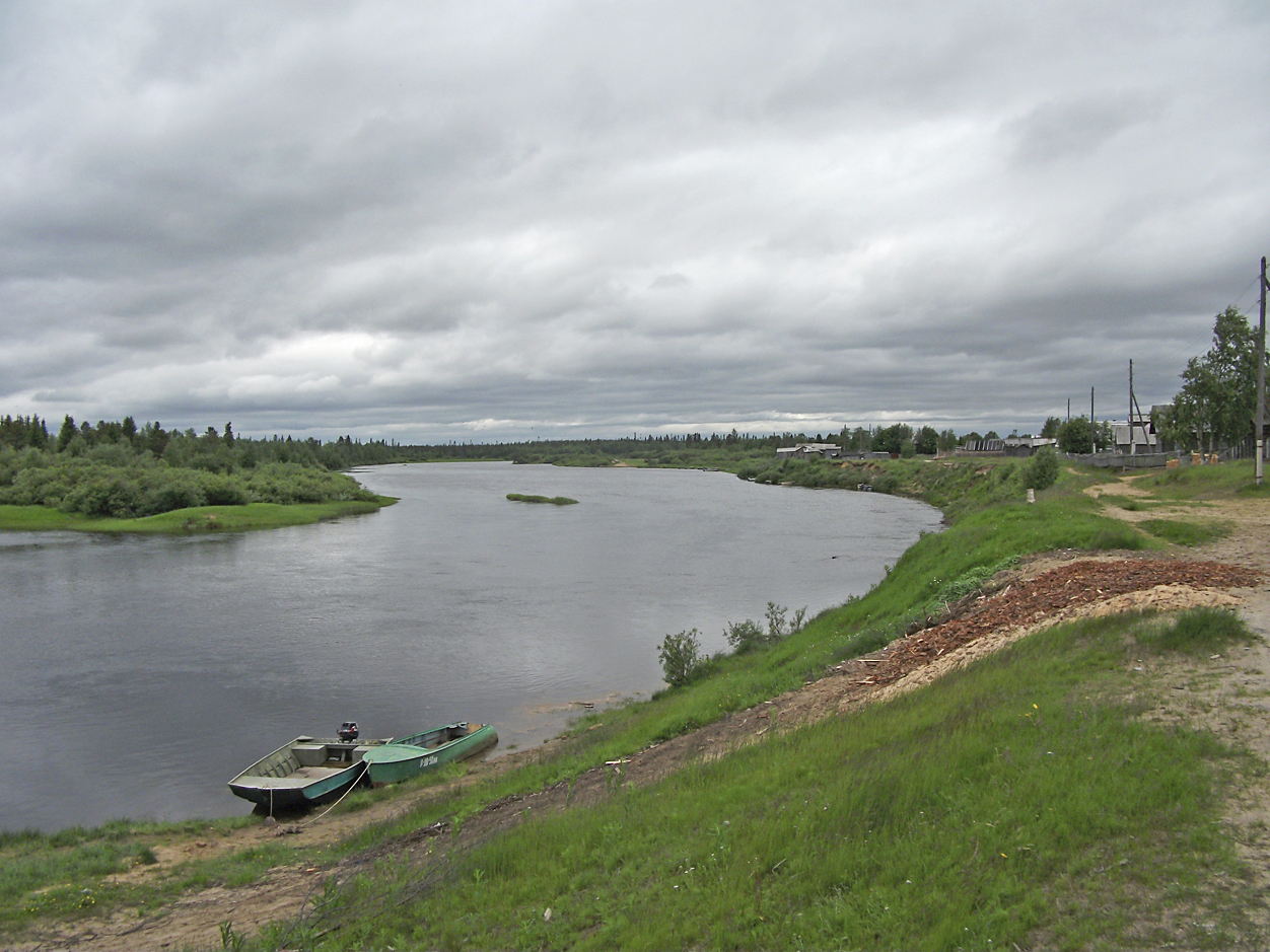 Ponoi river at Krasnochelye. Snowchange, 2016.