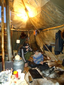 Solar panels provide for nomadic schooling and uses of computers in tundra camps.