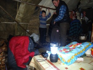 Solar lanterns in use in tents