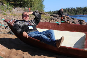 Juha Feodoroff, a Skolt Sámi fisherman, relaxes during the Festival. Hannibal Rhoades