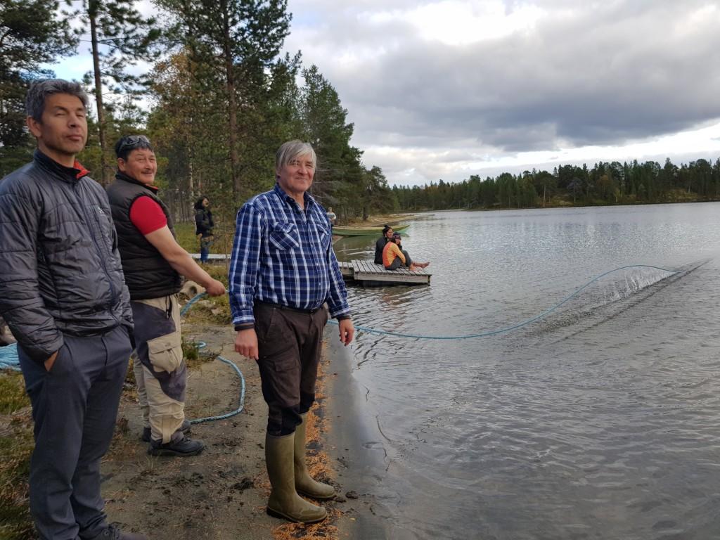 Ababsi (left), Vladimir Feodoroff, Skolt Sámi knowledge holder, and Nuunoq pulling seine in Sevettijärvi, Finland, September 2018. Photo: Snowchange
