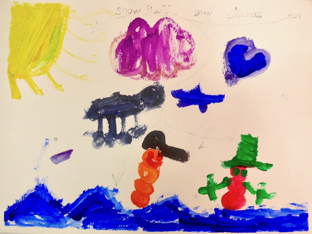 "Brendan: ""I put snow, snowmans, and clouds. There are shapes and animal clouds. I put the sun. In the future it's going to snow a lot."""