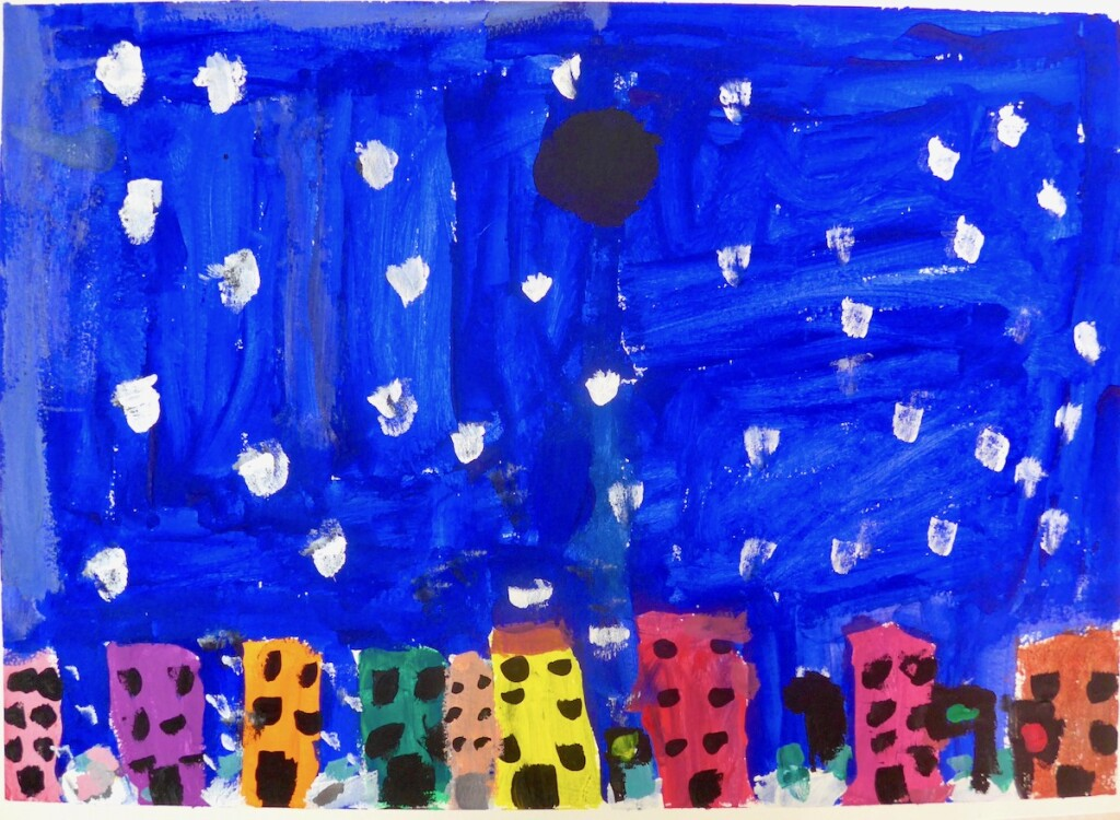 "Caelyn: ""Snow Night: My painting is snowing at night. The black thing is the moon but clouds are blocking it. And people could paint their house any color. There is stop, go, and slow is yellow stop signs."""
