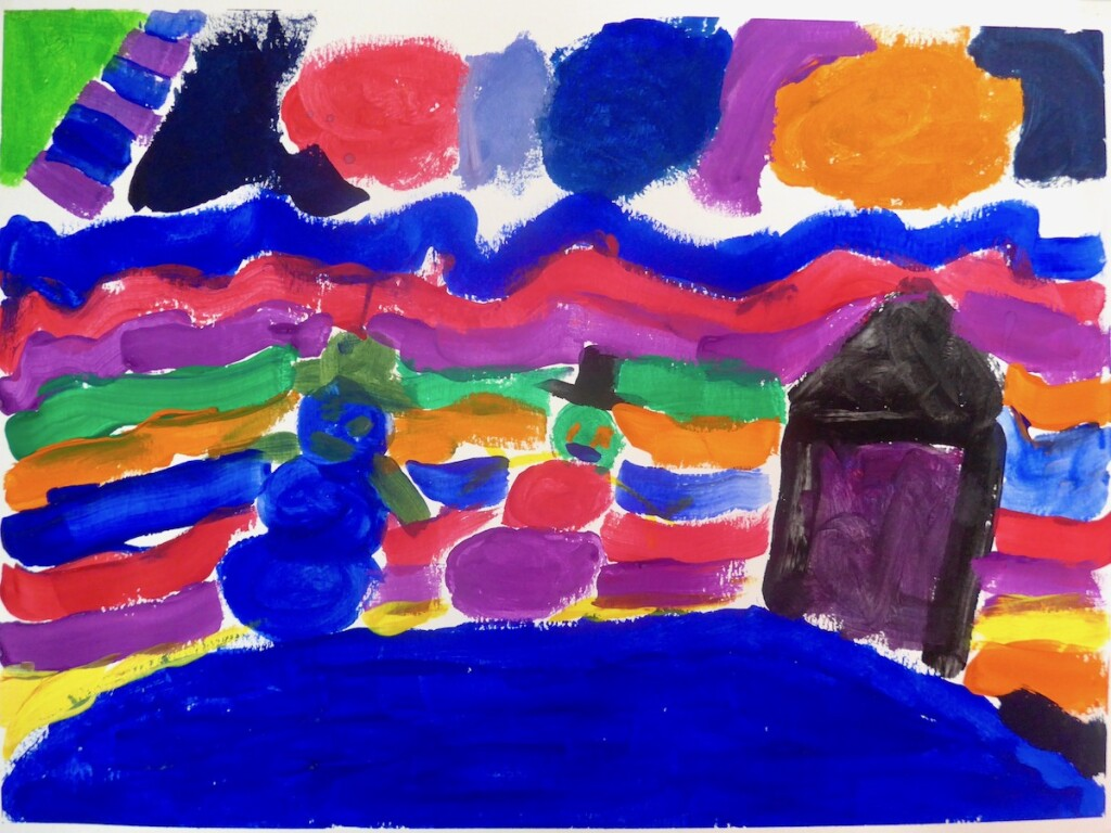 "Kianna: ""In the future I think the snow is going to be colorful. I think the northern lights are all the way to the hills. And the sun looks colorful too. I think the snow mans are gonna be taller and fatter."""